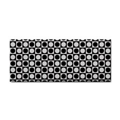 Modern Dots In Squares Mosaic Black White Hand Towel by EDDArt