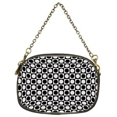 Modern Dots In Squares Mosaic Black White Chain Purses (one Side)  by EDDArt