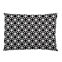 Modern Dots In Squares Mosaic Black White Pillow Case by EDDArt