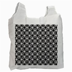 Modern Dots In Squares Mosaic Black White Recycle Bag (two Side)  by EDDArt