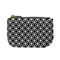 Modern Dots In Squares Mosaic Black White Mini Coin Purses by EDDArt