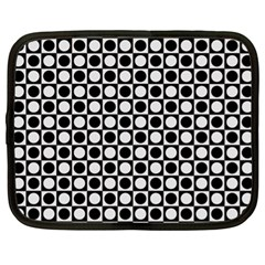Modern Dots In Squares Mosaic Black White Netbook Case (xl)  by EDDArt