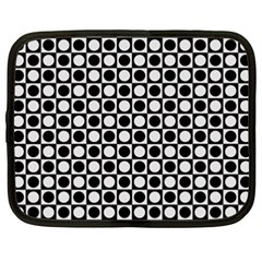 Modern Dots In Squares Mosaic Black White Netbook Case (xxl)  by EDDArt