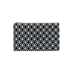 Modern Dots In Squares Mosaic Black White Cosmetic Bag (small)  by EDDArt