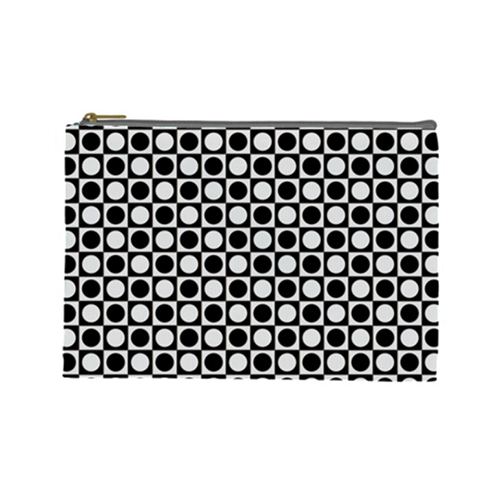 Modern Dots In Squares Mosaic Black White Cosmetic Bag (Large)