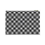 Modern Dots In Squares Mosaic Black White Cosmetic Bag (Large)  Back