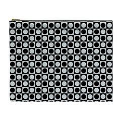 Modern Dots In Squares Mosaic Black White Cosmetic Bag (xl) by EDDArt