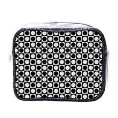 Modern Dots In Squares Mosaic Black White Mini Toiletries Bags by EDDArt
