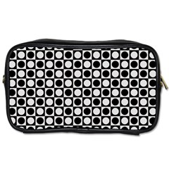 Modern Dots In Squares Mosaic Black White Toiletries Bags 2 Side
