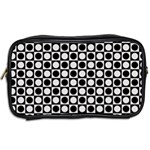 Modern Dots In Squares Mosaic Black White Toiletries Bags 2-Side Back