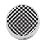 Modern Dots In Squares Mosaic Black White 4-Port USB Hub (Two Sides)  Front