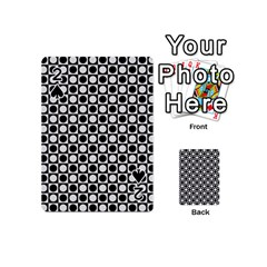Modern Dots In Squares Mosaic Black White Playing Cards 54 (mini)  by EDDArt