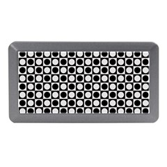 Modern Dots In Squares Mosaic Black White Memory Card Reader (mini) by EDDArt