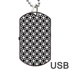 Modern Dots In Squares Mosaic Black White Dog Tag Usb Flash (two Sides)  by EDDArt