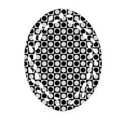 Modern Dots In Squares Mosaic Black White Ornament (oval Filigree)  by EDDArt