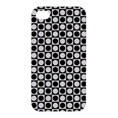 Modern Dots In Squares Mosaic Black White Apple Iphone 4/4s Hardshell Case by EDDArt