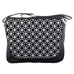 Modern Dots In Squares Mosaic Black White Messenger Bags by EDDArt