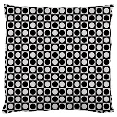 Modern Dots In Squares Mosaic Black White Large Cushion Case (one Side) by EDDArt