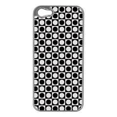 Modern Dots In Squares Mosaic Black White Apple Iphone 5 Case (silver) by EDDArt
