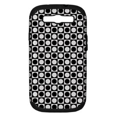 Modern Dots In Squares Mosaic Black White Samsung Galaxy S Iii Hardshell Case (pc+silicone) by EDDArt