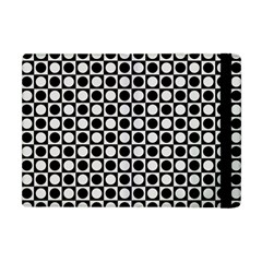 Modern Dots In Squares Mosaic Black White Apple Ipad Mini Flip Case by EDDArt