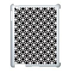 Modern Dots In Squares Mosaic Black White Apple Ipad 3/4 Case (white) by EDDArt