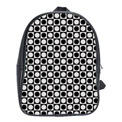Modern Dots In Squares Mosaic Black White School Bags (xl)  by EDDArt