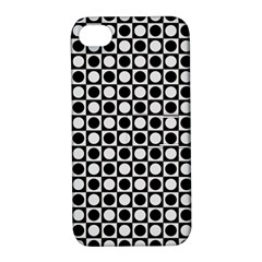 Modern Dots In Squares Mosaic Black White Apple Iphone 4/4s Hardshell Case With Stand by EDDArt