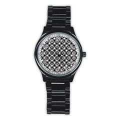 Modern Dots In Squares Mosaic Black White Stainless Steel Round Watch by EDDArt
