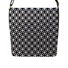 Modern Dots In Squares Mosaic Black White Flap Messenger Bag (l)  by EDDArt