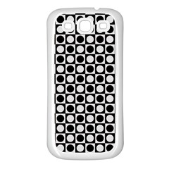 Modern Dots In Squares Mosaic Black White Samsung Galaxy S3 Back Case (white) by EDDArt