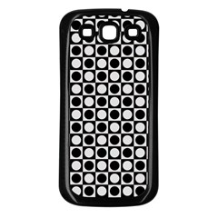 Modern Dots In Squares Mosaic Black White Samsung Galaxy S3 Back Case (black) by EDDArt