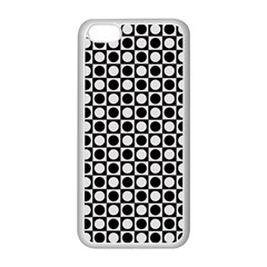 Modern Dots In Squares Mosaic Black White Apple Iphone 5c Seamless Case (white) by EDDArt