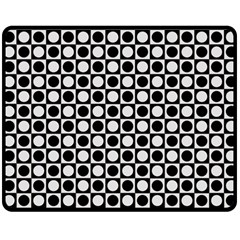 Modern Dots In Squares Mosaic Black White Double Sided Fleece Blanket (medium)  by EDDArt