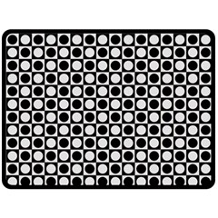 Modern Dots In Squares Mosaic Black White Double Sided Fleece Blanket (large)  by EDDArt