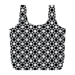 Modern Dots In Squares Mosaic Black White Full Print Recycle Bags (l)