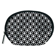 Modern Dots In Squares Mosaic Black White Accessory Pouches (medium)  by EDDArt