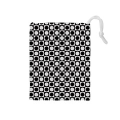 Modern Dots In Squares Mosaic Black White Drawstring Pouches (medium)  by EDDArt