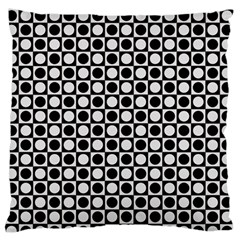 Modern Dots In Squares Mosaic Black White Large Flano Cushion Case (one Side) by EDDArt