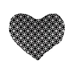 Modern Dots In Squares Mosaic Black White Standard 16  Premium Flano Heart Shape Cushions by EDDArt