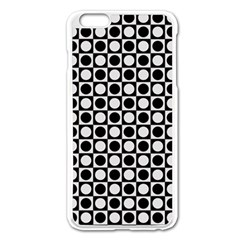 Modern Dots In Squares Mosaic Black White Apple Iphone 6 Plus/6s Plus Enamel White Case by EDDArt