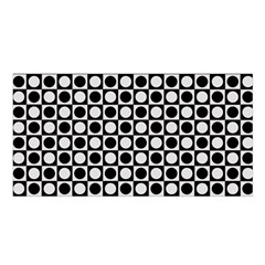 Modern Dots In Squares Mosaic Black White Satin Shawl by EDDArt