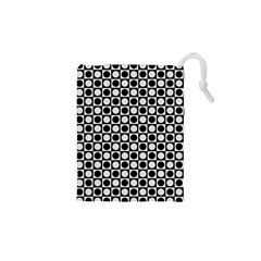 Modern Dots In Squares Mosaic Black White Drawstring Pouches (xs)  by EDDArt