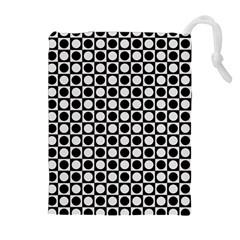 Modern Dots In Squares Mosaic Black White Drawstring Pouches (extra Large) by EDDArt
