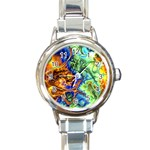 Abstract Fractal Batik Art Green Blue Brown Round Italian Charm Watch Front