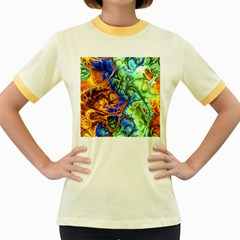 Abstract Fractal Batik Art Green Blue Brown Women s Fitted Ringer T Shirts by EDDArt