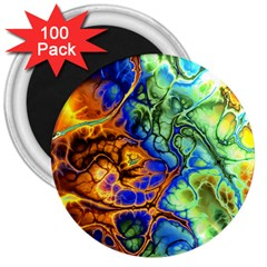 Abstract Fractal Batik Art Green Blue Brown 3  Magnets (100 Pack) by EDDArt