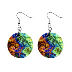 Abstract Fractal Batik Art Green Blue Brown Mini Button Earrings by EDDArt