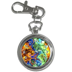 Abstract Fractal Batik Art Green Blue Brown Key Chain Watches by EDDArt