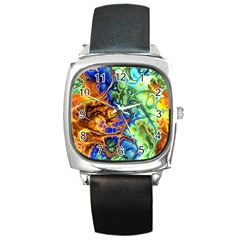 Abstract Fractal Batik Art Green Blue Brown Square Metal Watch by EDDArt